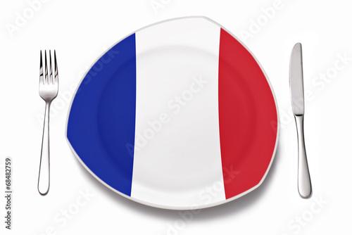 canvas print picture Teller mit französischer Flagge