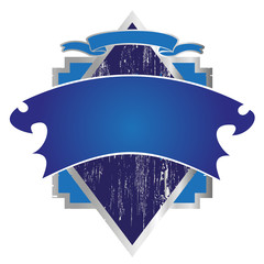 blue and silver framed label logo wappen