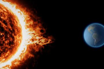 Sole, tempesta solare, terra, spazio universo