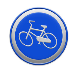 Bicycle lane sign indicating bike route, large blue round isolat