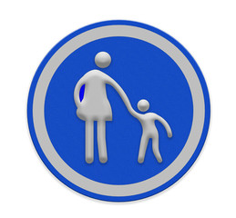 crosswalk sign with woman amd child walking