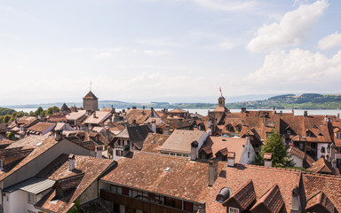 Murten, Altstadt, Schloss, Rathaus, Sommer, Schweiz
