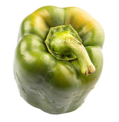 Green capsicum on white background