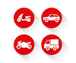 Red flat vehicle icon set