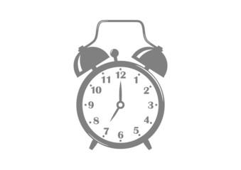 Grey alarm clock on white background