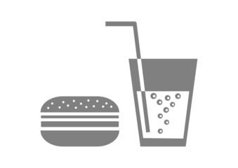 Grey hamburger icon on white background