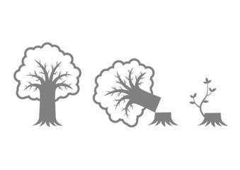 Grey tree icons on white background