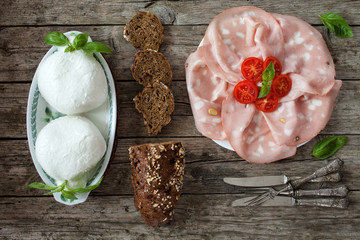 Mortadella, Mozzarella Amd Wholemeal Bread With Seeds