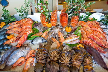 Seafood displayed for sale on the island of Crete, Greece.