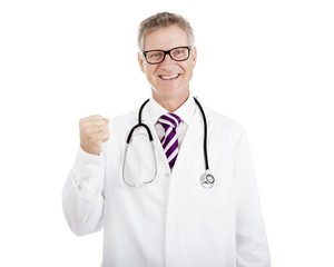 Smiling Doctor Showing Successful Closed-Fist Hand