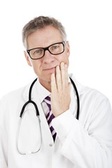 Doctor in Scrub Suit Experiencing Toothache
