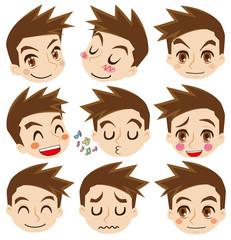 顔だけ男性の表情セット