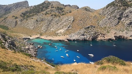 Picturesque bay with green water on the Cape Formentor