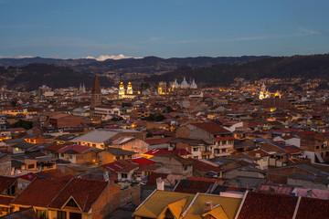 View of the city of Cuenca, Ecuador, at dusk
