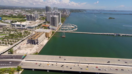 Aerial video Downtown Miami and Biscayne Bay