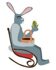 Rabbit on rocking chair with easter egg