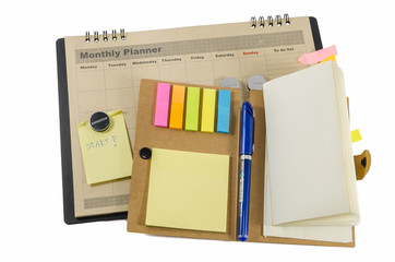 Monthly planner with pen and notedbook