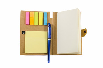 notebook with notice papers and pen isolated