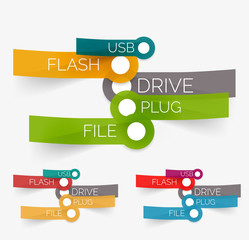 Vector usb flash tag cloud on stickers