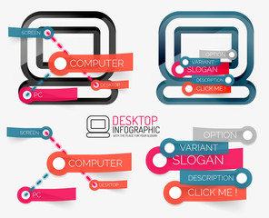 Vector desktop pc infographics and keyword cloud