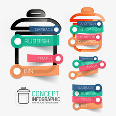 Vector rubbish bin infographic with stickers