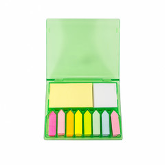 The set of colorful sticky note paper in a box