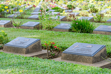 Row of grave stone in War Cemetery