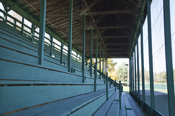 Old baseball stadium bleacher seats