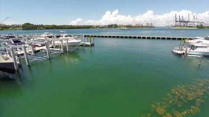 Aerial drone video Miami Beach Marina