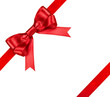 composition with red ribbons and a bow isolated on white - 68489173