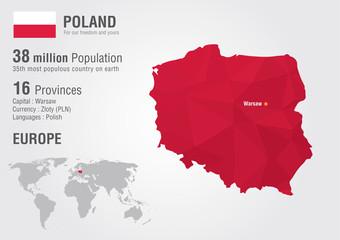 Poland world map with a pixel diamond texture.