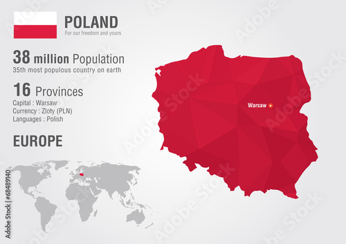 Poland world map with a pixel diamond texture. - 68489140