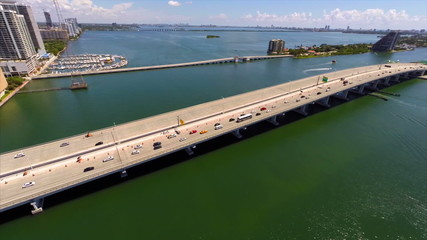 Aerial video of the MacArthur Causeway Miami Beach