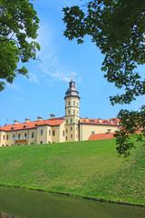 Nesvizhsky castle on the background of blue sky
