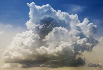 A Building Thundercloud with Lightning Strikes Within