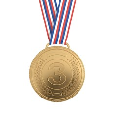 Bronze medal with ribbon isolated on white