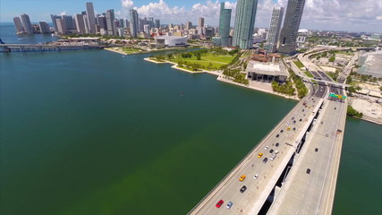 Aerial drone video Downtown Miami