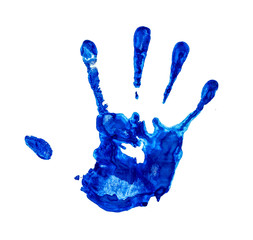 water blue handprint on an isolated white background