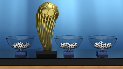 Golden ball trophy and lottery baskets with soccer balls.