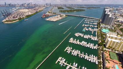 Miami Beach Marina aerial drone video