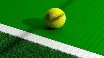 Tennis ball on tennis green court