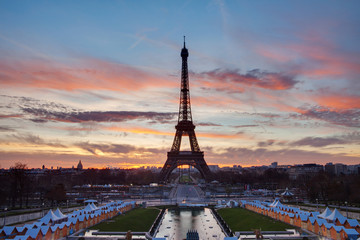 Eiffel Tower in Paris on the winter in the morning