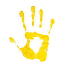 yellow handprint on an isolated white background
