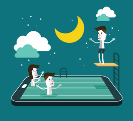 Swimming and Jumping in smart device pool. vector