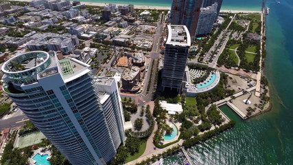 Aerial Miami Beach highrise condos