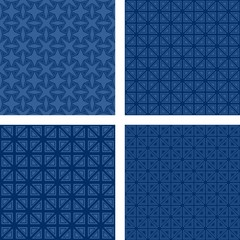 Blue seamless triangle pattern set