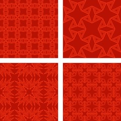 Red seamless polygon pattern set