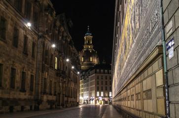 Fürstenzug Frauenkirche Dresden bei Nacht