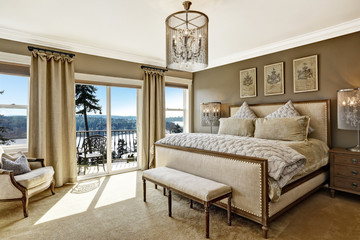 Luxury bedroom interor with scenic view from deck