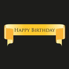 happy birthday gold ribbons vector